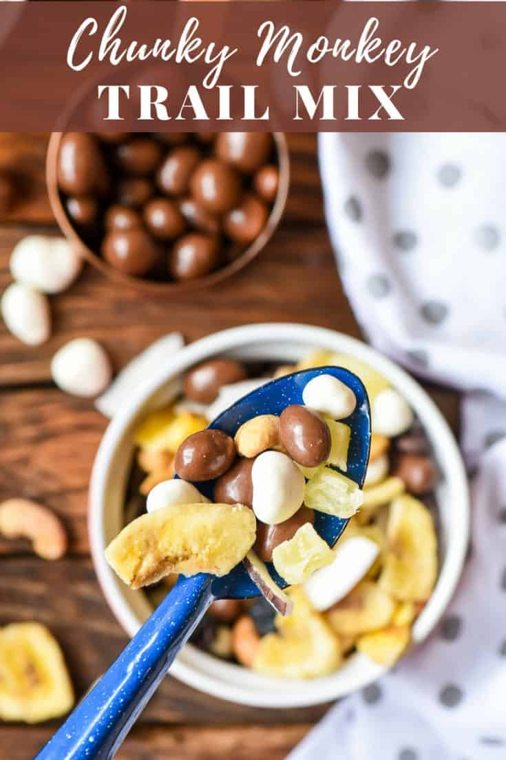 This Chunky Monkey Trail Mix combines your favorite tropical fruits with chocolate covered peanuts, cashews, and yogurt cranberries for the perfect sweet and salty snack! #healthysnack #trailmix #sweetandsalty #trailmixrecipe