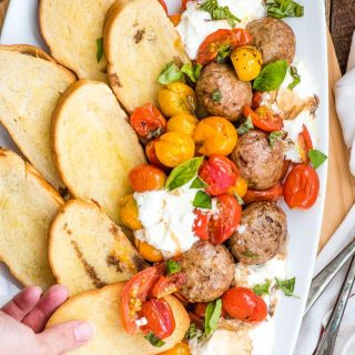 Roasted Tomatoes and Burrata with Meatballs