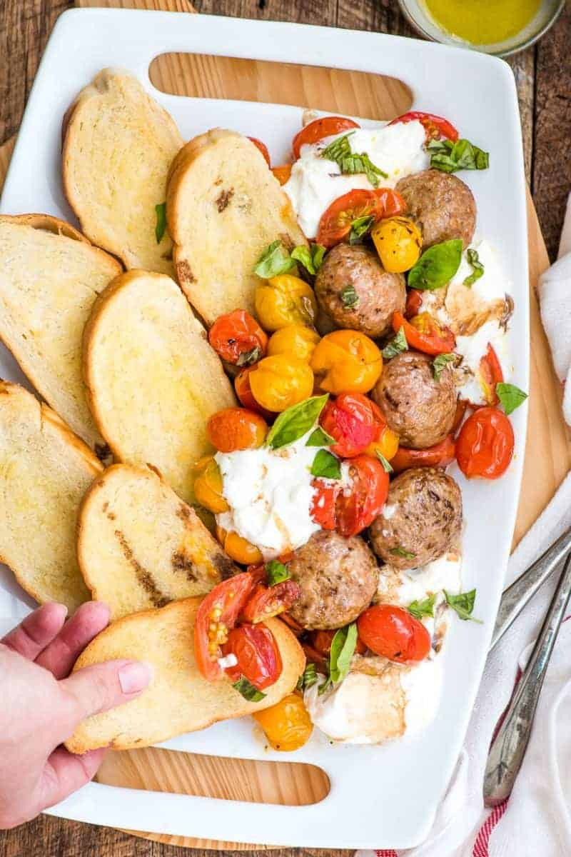 Roasted Tomatoes and Burrata with Meatballs and Crostini