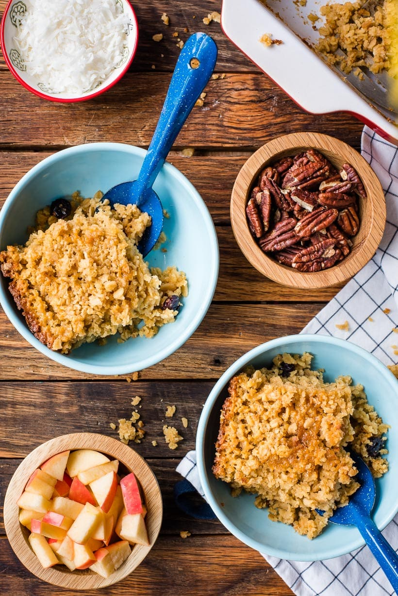 Amish baked oatmeal in blue bowls