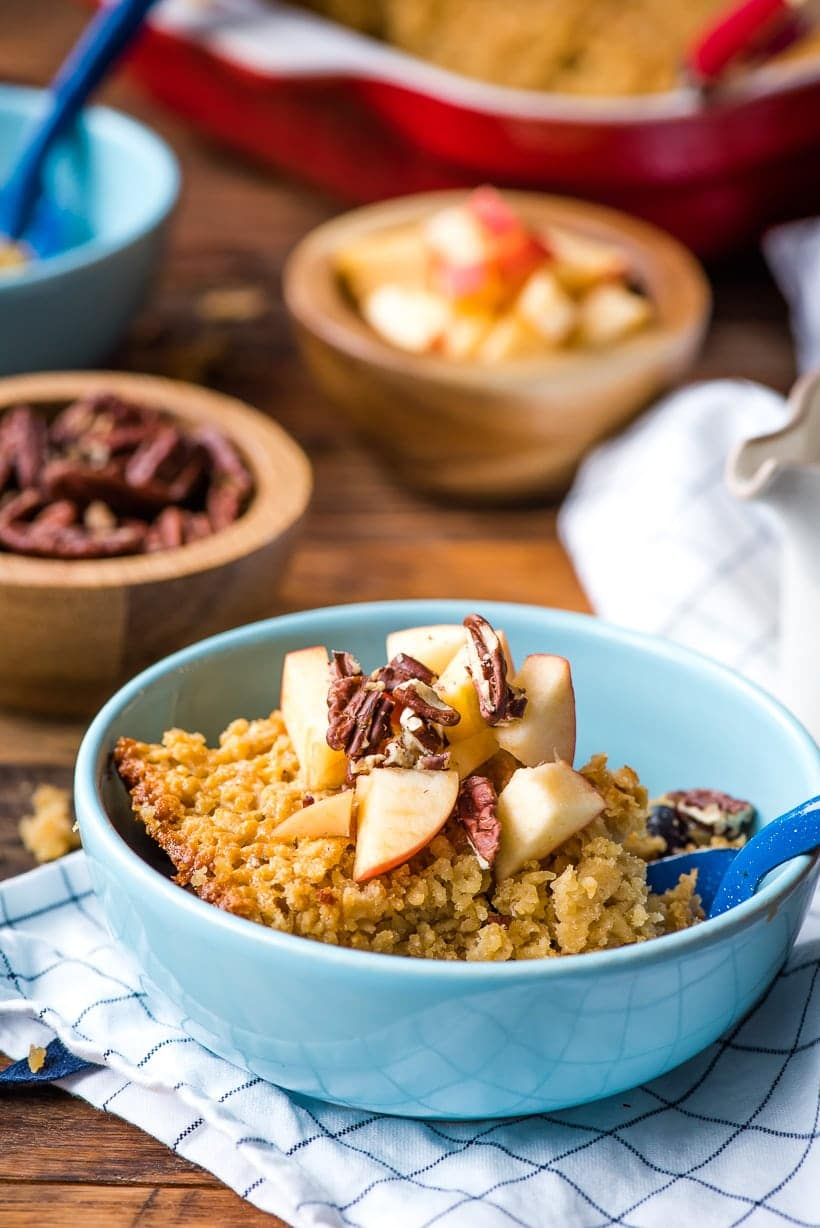 Amish baked oatmeal topped with apples and pecans