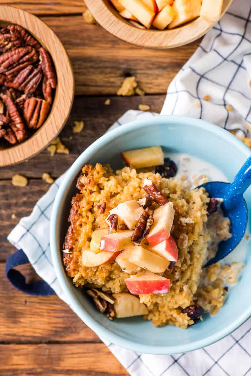Amish Baked Oatmeal in a bowl with spoon