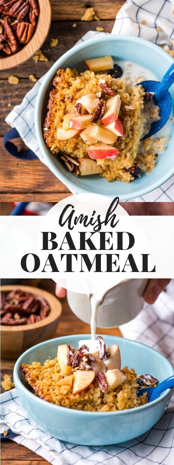 This hearty Amish Baked Oatmeal is the most comforting way to kick start a chilly morning! It's easy to make and freezer friendly! #easybreakfast #makeaheadbreakfast #bakedoatmeal #oatmealrecipe