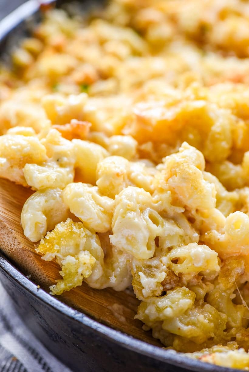 Close up of Creamy Baked Mac and Cheese