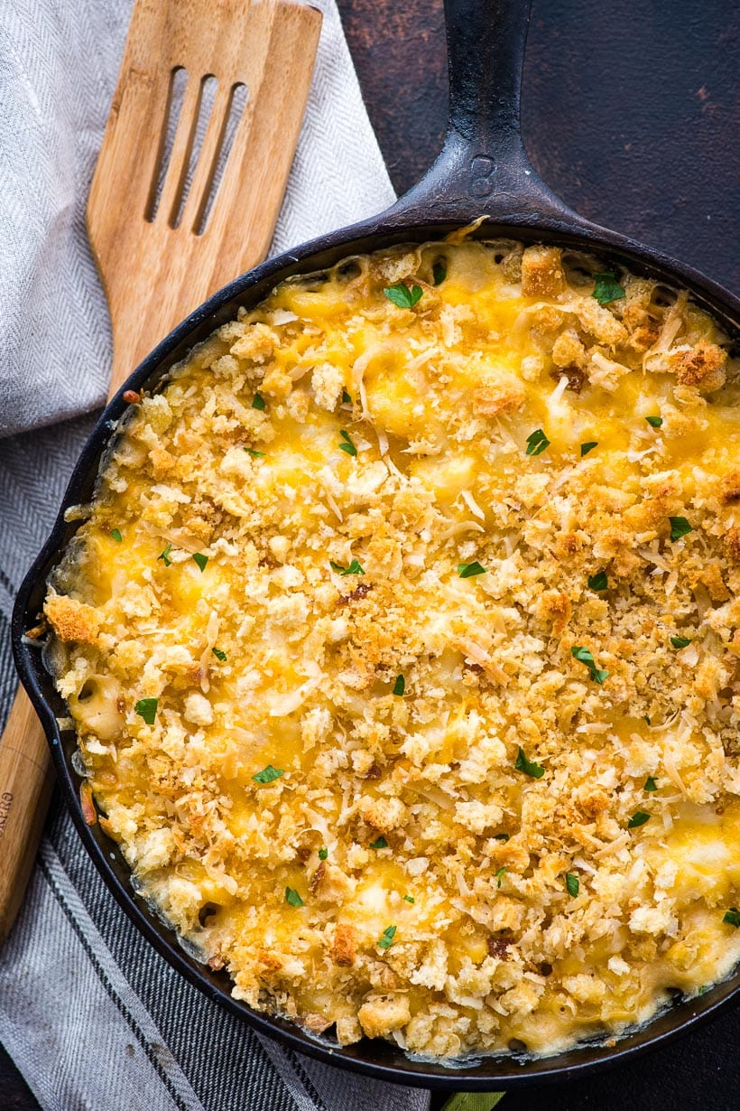 Creamy Baked Mac and Cheese in a cast iron skillet