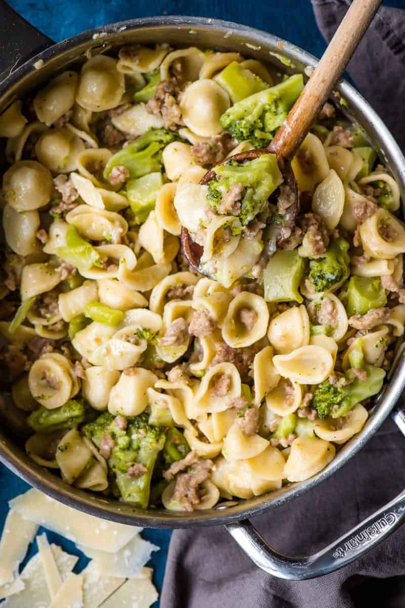 Orecchiette with Sausage and Broccoli in a stainless steel skillet