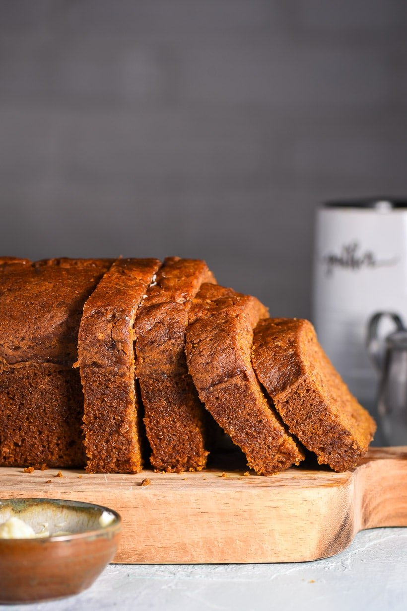 Easy Pumpkin Bread cut in slices