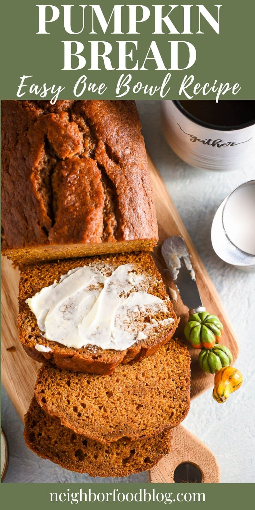 Pumpkin Bread slices with butter