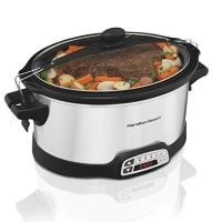 Hamilton Beach Stay or Go Slow Cooker 6-Quart Silver