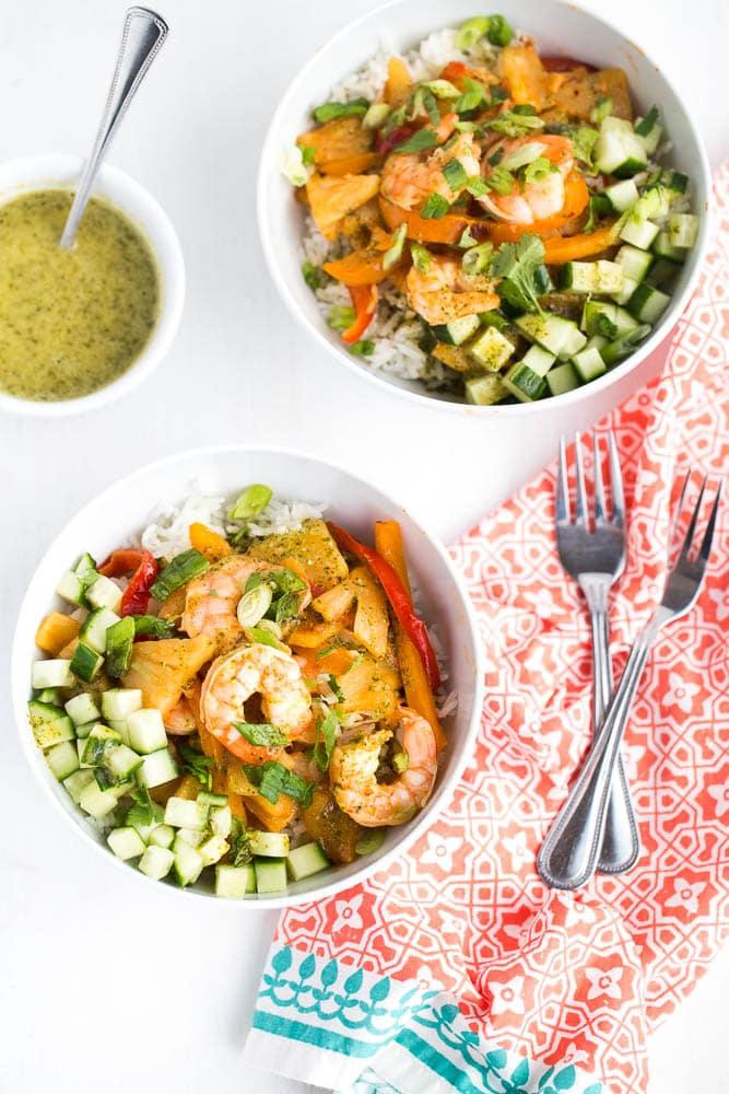 Chipotle Shrimp & Pineapple Bowls with Coconut Vinaigrette