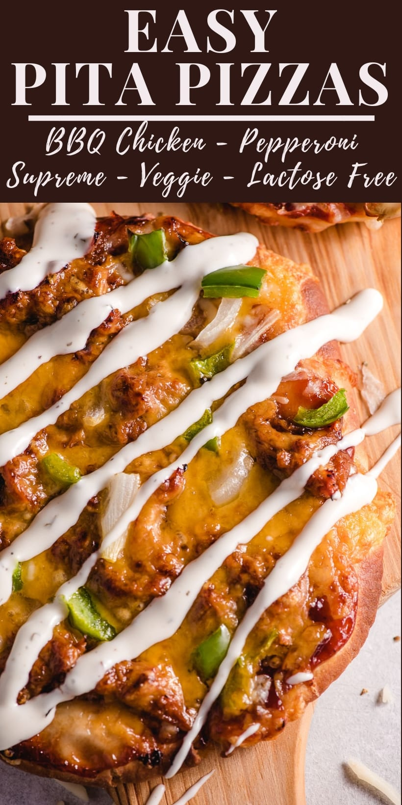 bbq chicken pita pizzas with ranch