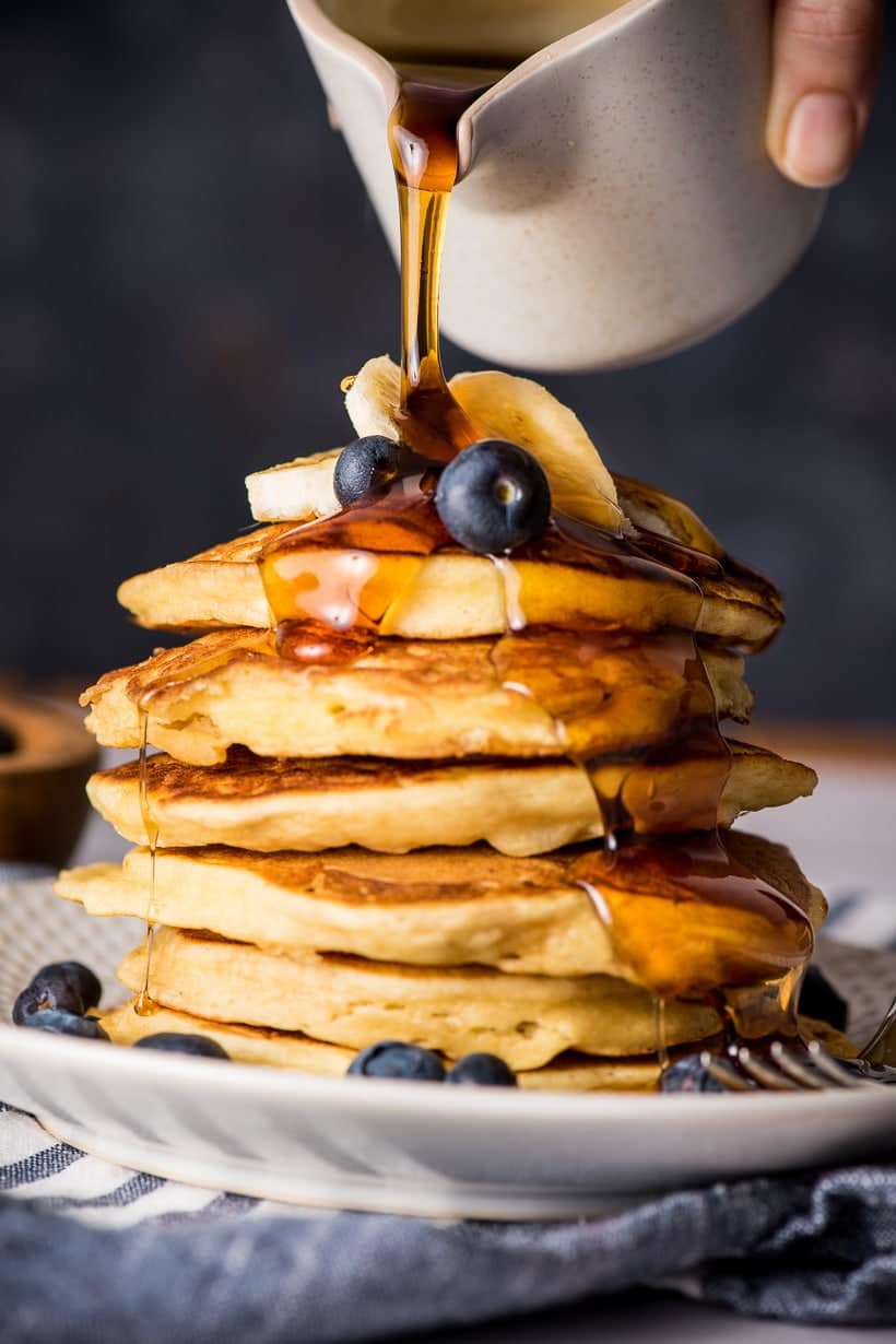 stack of Ricotta pancakes with syrup
