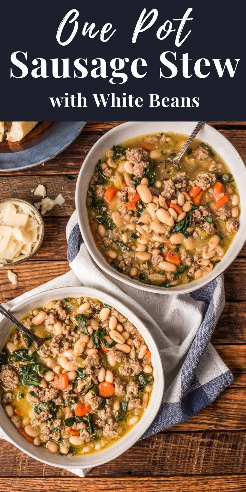 two bowls of sausage stew with white beans