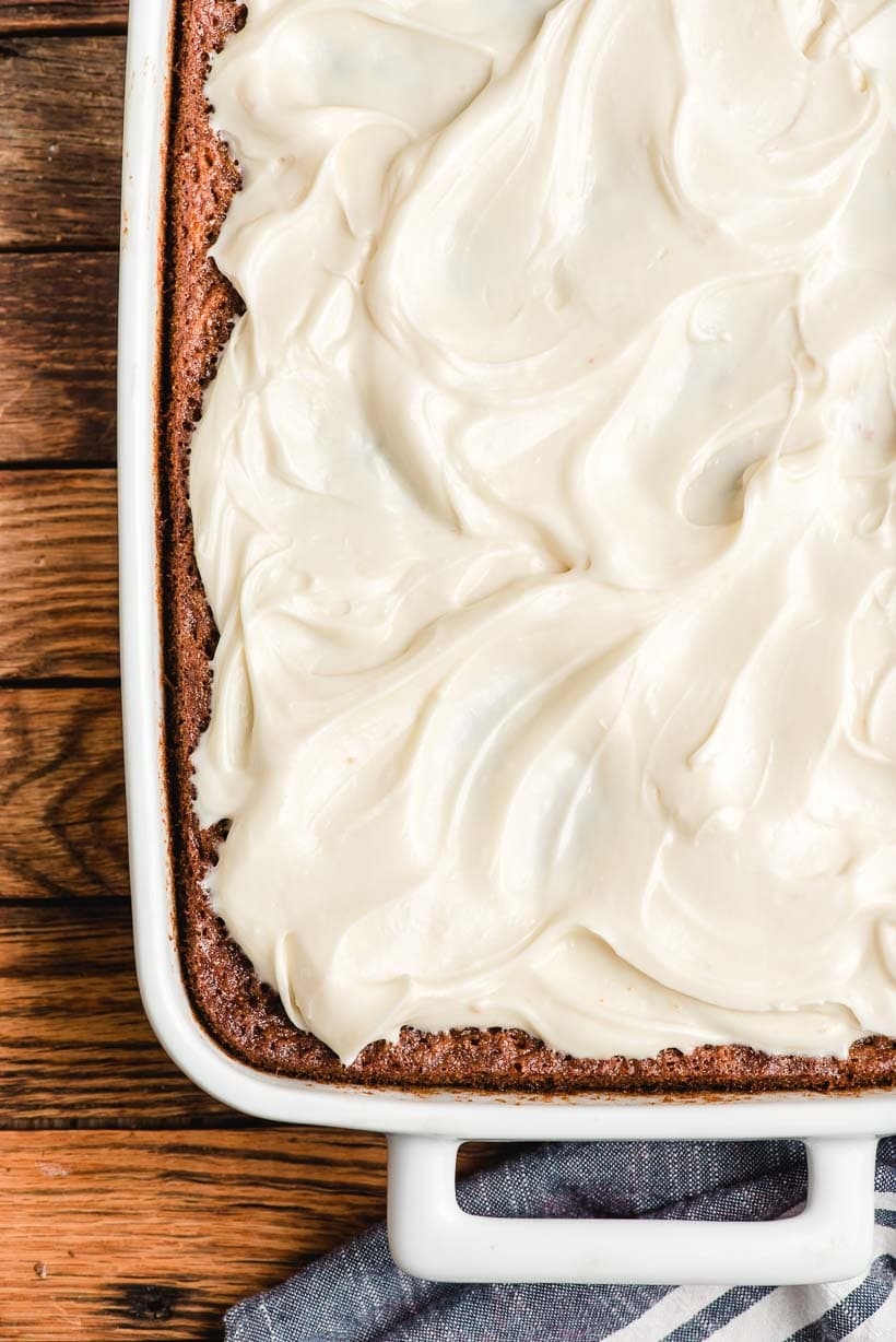 Carrot Sheet Cake with cream cheese frosting on top