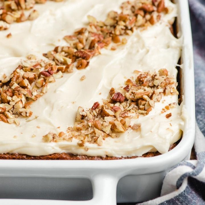 Carrot Sheet Cake in a white pan