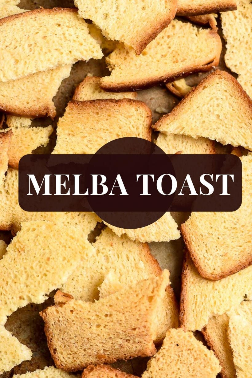 Melba Toast pieces scattered on a sheet pan