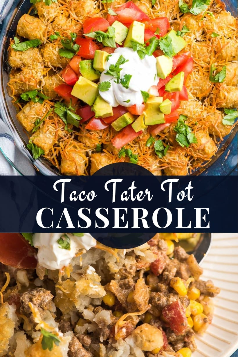 mexican tater tot casserole in a dish and scooped on a plate