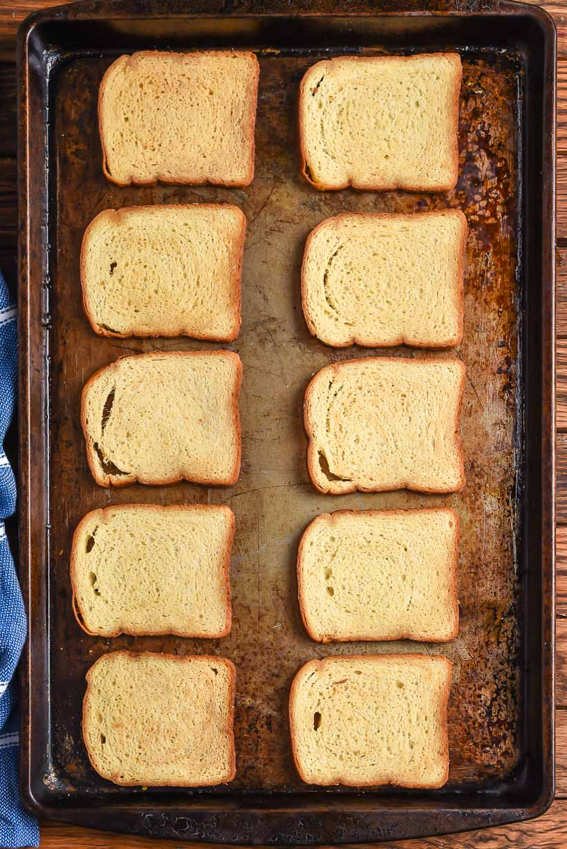 Melba Toast slices on a sheet pan