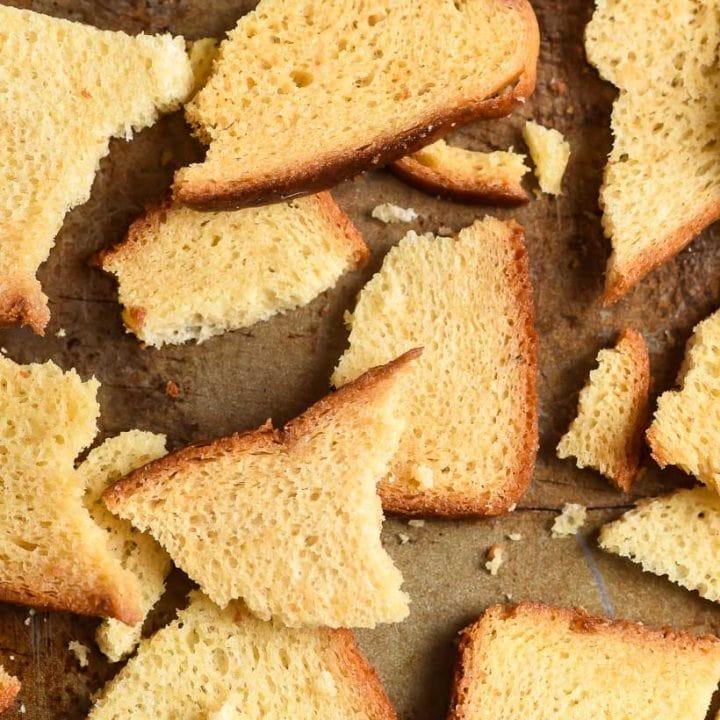 Close up of Melba Toast pieces