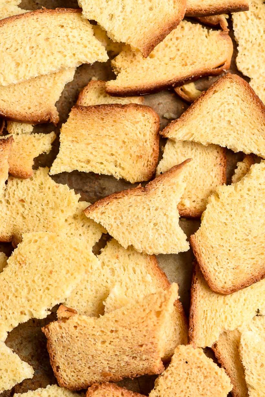 Melba Toast pieces on a sheet pan