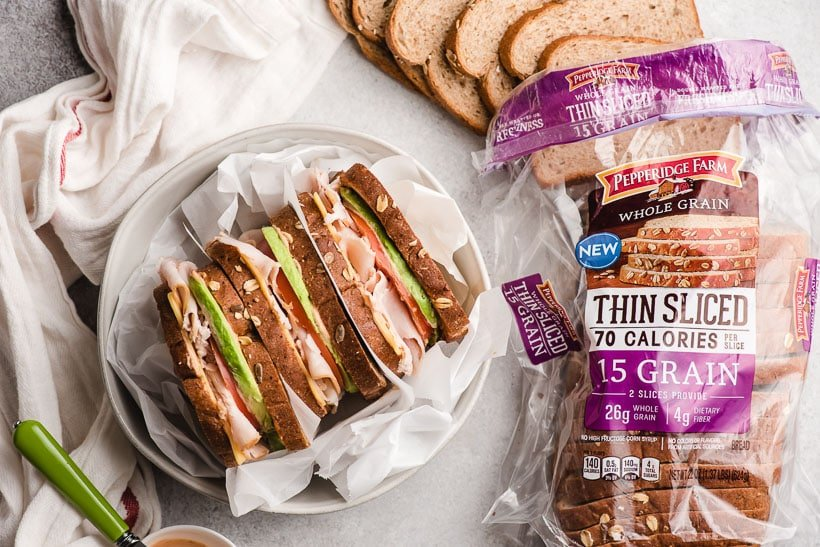 Turkey Avocado Sandwiches with bread in a bag