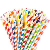 Paper Straws - Rainbow Stripes, 200-pack