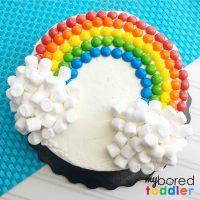 Easy Rainbow Birthday Cake Using Skittles and Marshmallows
