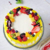 Eggless Fresh Fruit Cake with Whipped Cream