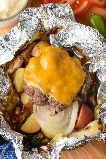 Cheeseburger Hobo Dinner in a foil packet