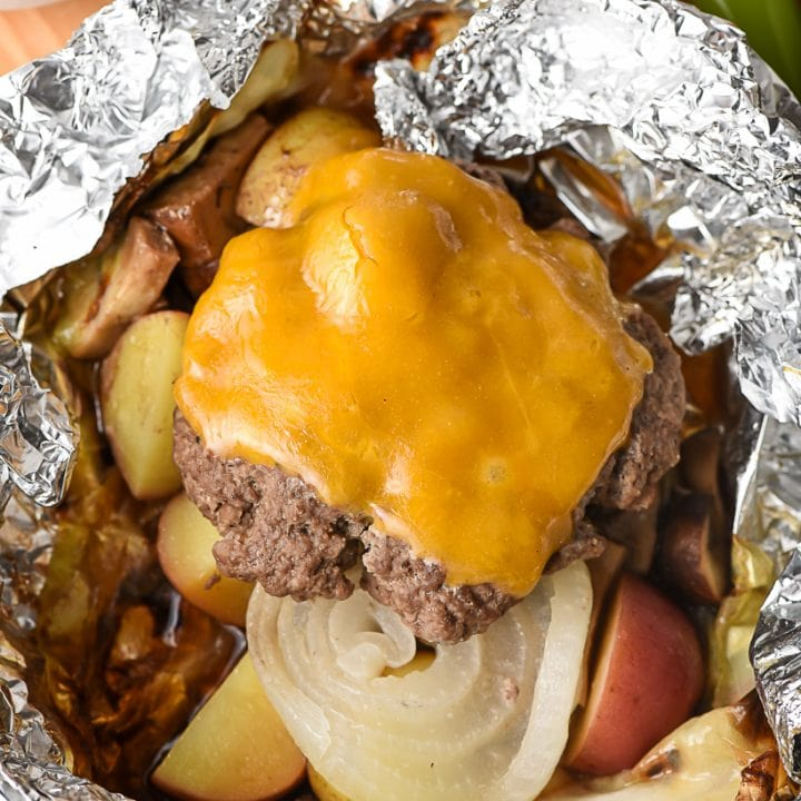 Cheeseburger Hobo Dinner in a foil packet