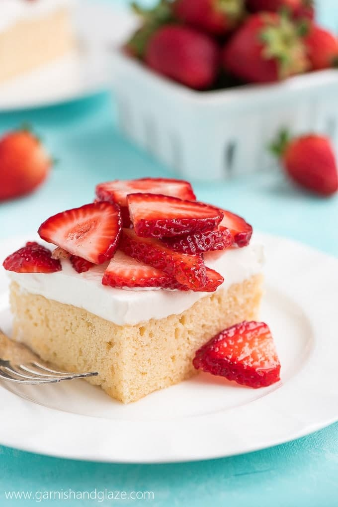 Strawberry Topped Tres Leches Cake