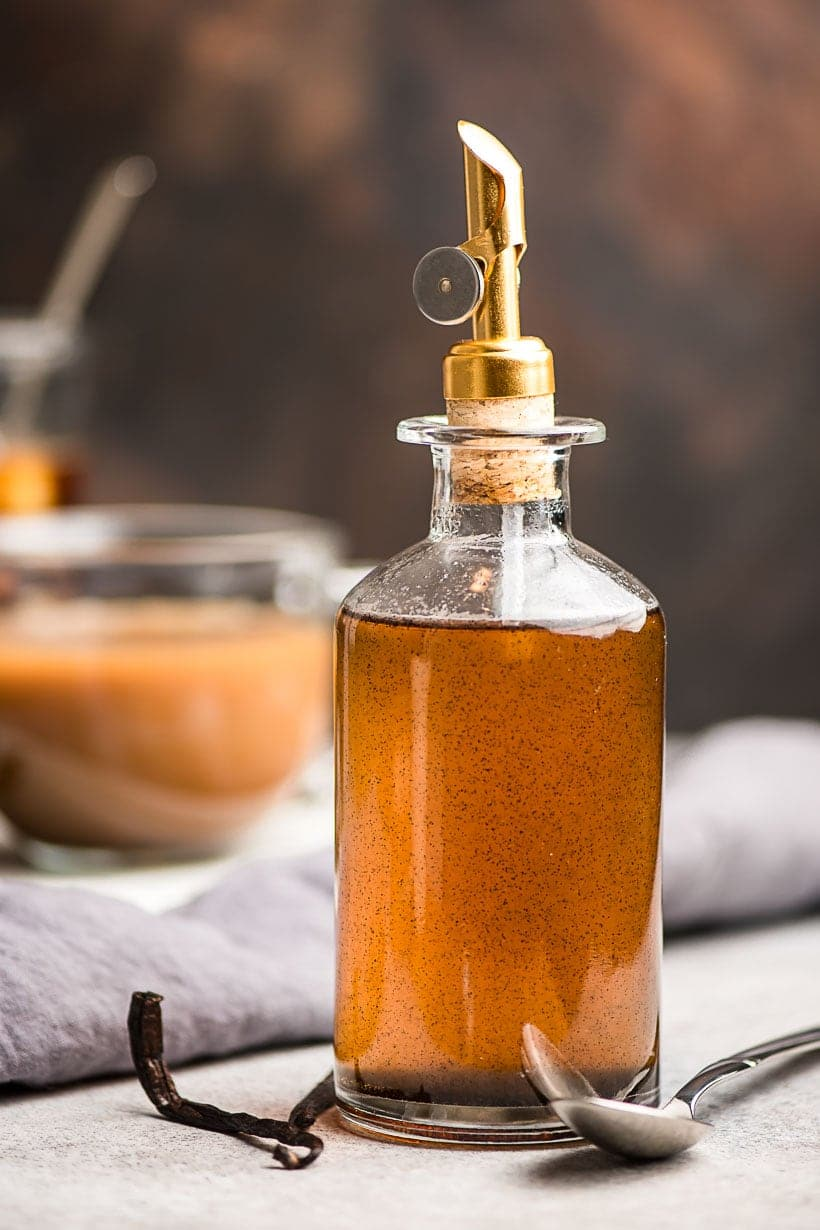 Vanilla Syrup for coffee in a glass bottle