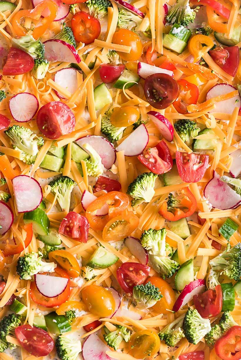 close up image of vegetable pizza with radish, tomatoes, bell pepper, and broccoli