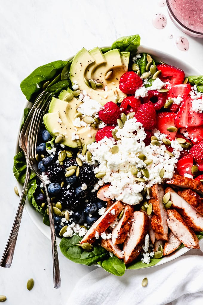 Tuesday: Berry Chicken Spinach Salad- Garnish and Glaze