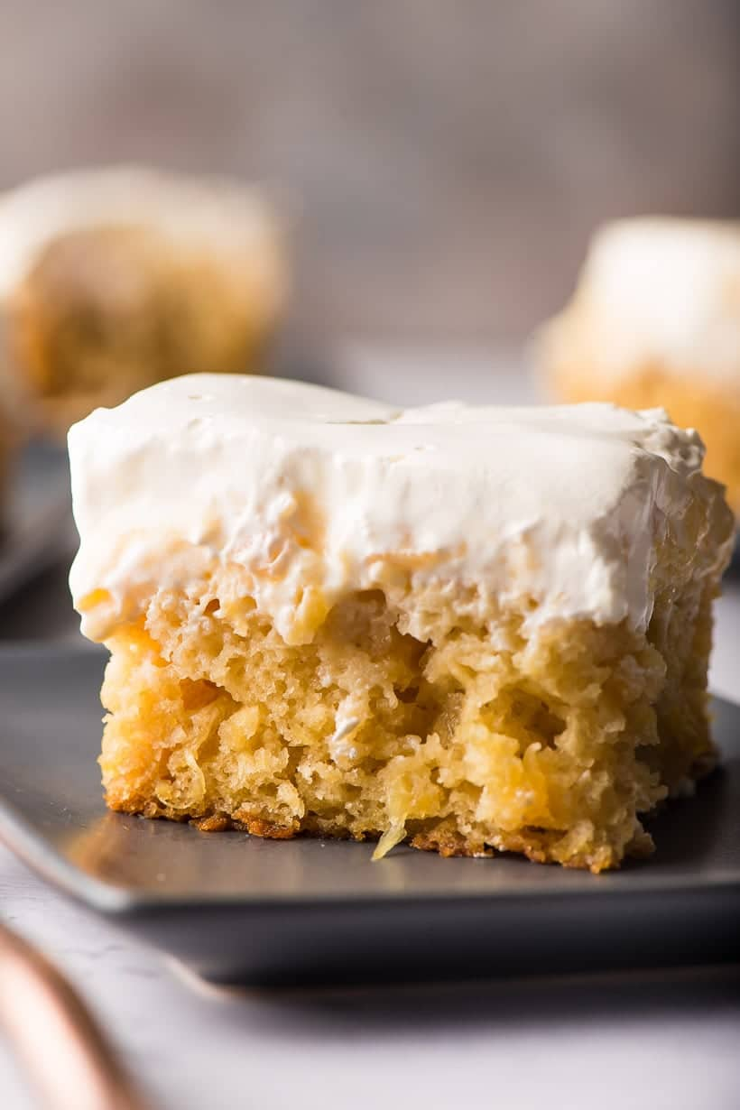 Close up image of moist pineapple cake with vanilla pudding topping