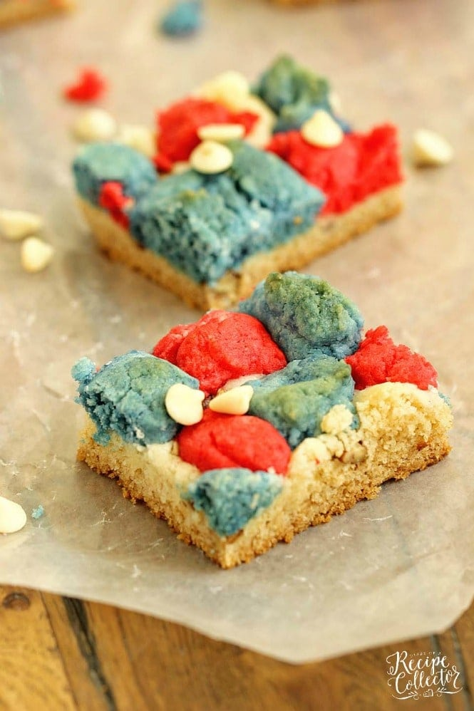 Dessert: Red, White, and Blue Cookie Bars - Diary of A Recipe Collector