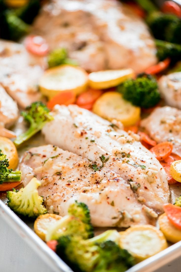 Thursday- Sheet Pan Baked Tilapia and Roasted Vegetables