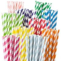 Weemium - 200 pack Paper Drinking Straws - 10 Color Rainbow Stripes