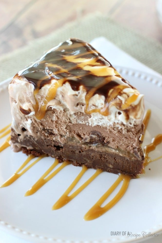 Salted Caramel Brownie Ice Cream Cake- Diary of a Recipe Collector