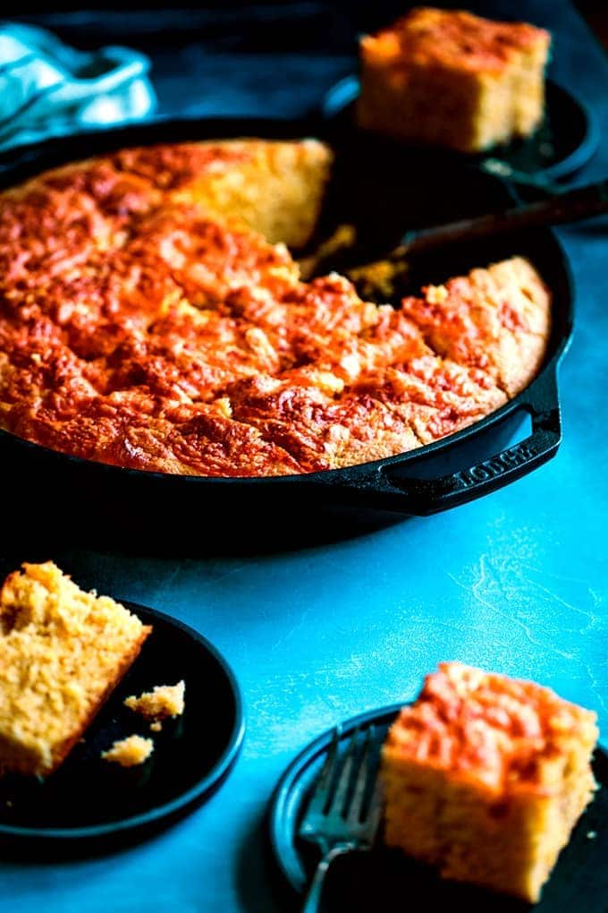 Cheddar and Cream Cheese Skillet Cornbread - Melanie Makes