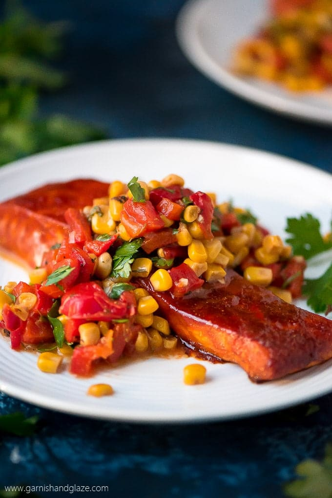 Thursday: Baked Salmon with Corn & Red Pepper Relish