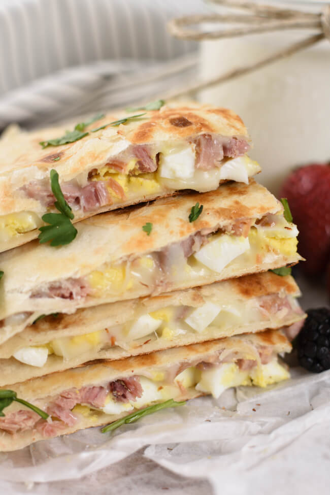 Ham and Cheese Breakfast Quesadillas - Little Dairy On the Prairie