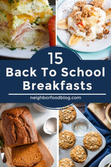 Back to school breakfast photos including pumpkin bread, apple oatmeal muffins, yogurt banana split, and egg and cheese sliders