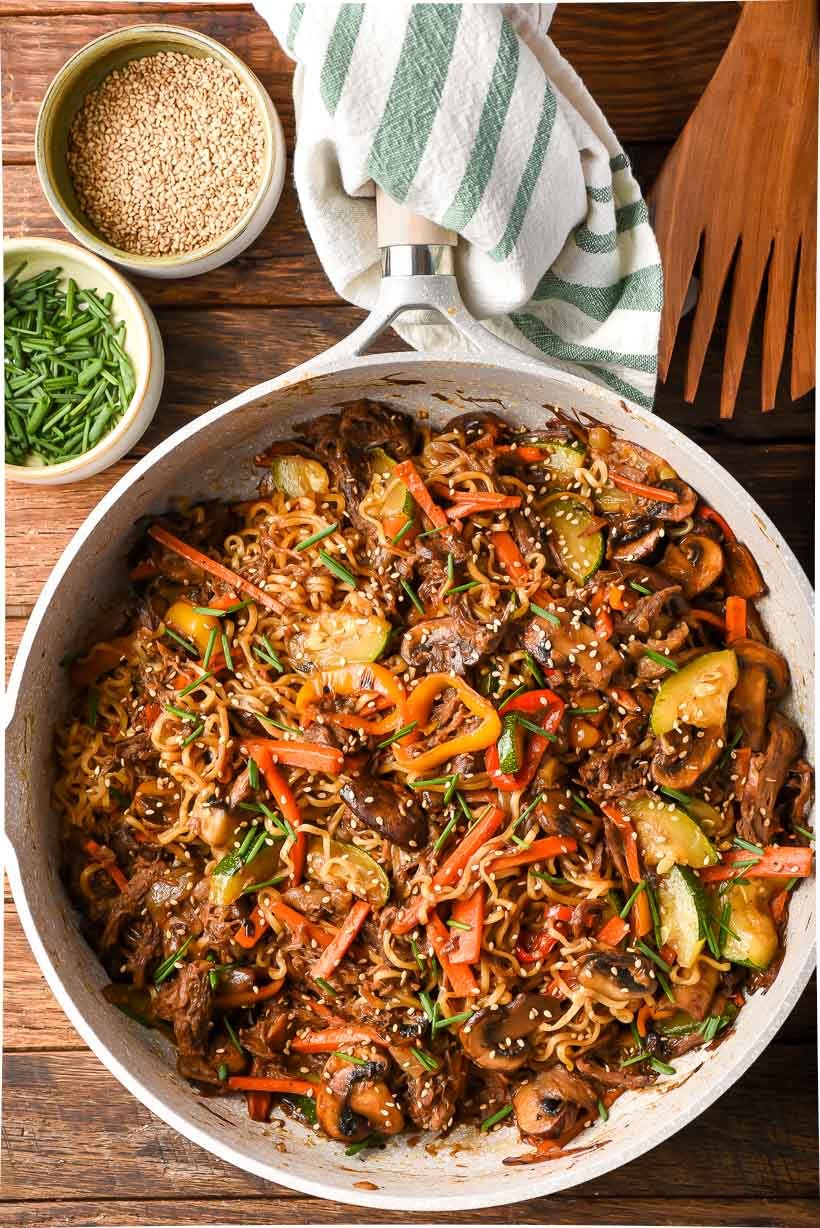 Large skillet of beef ramen stir fry