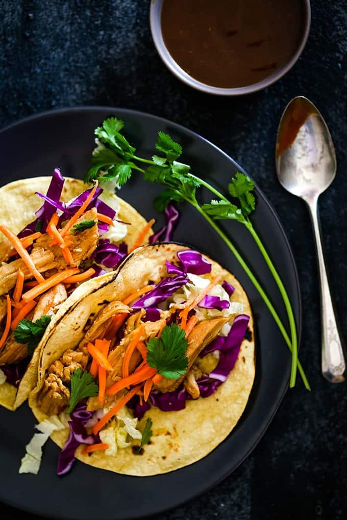 Friday: Slow Cooker Hoisin Chili Chicken Tacos - Melanie Makes