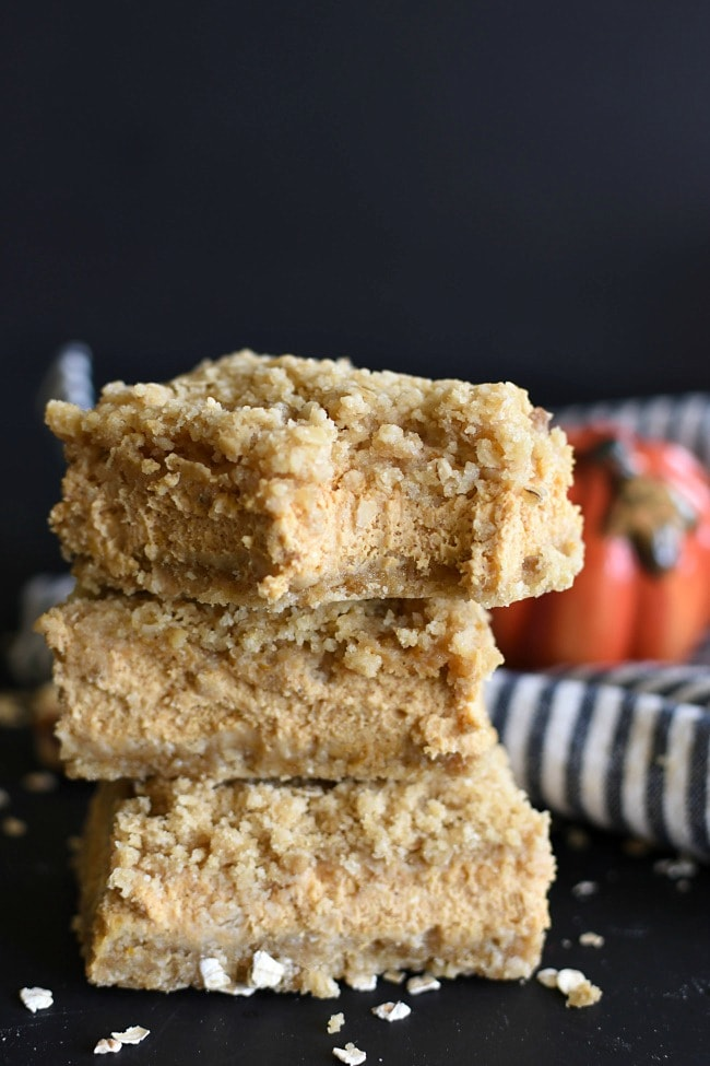 Pumpkin Cheesecake Crumb Bars | Little Dairy On the Prairie