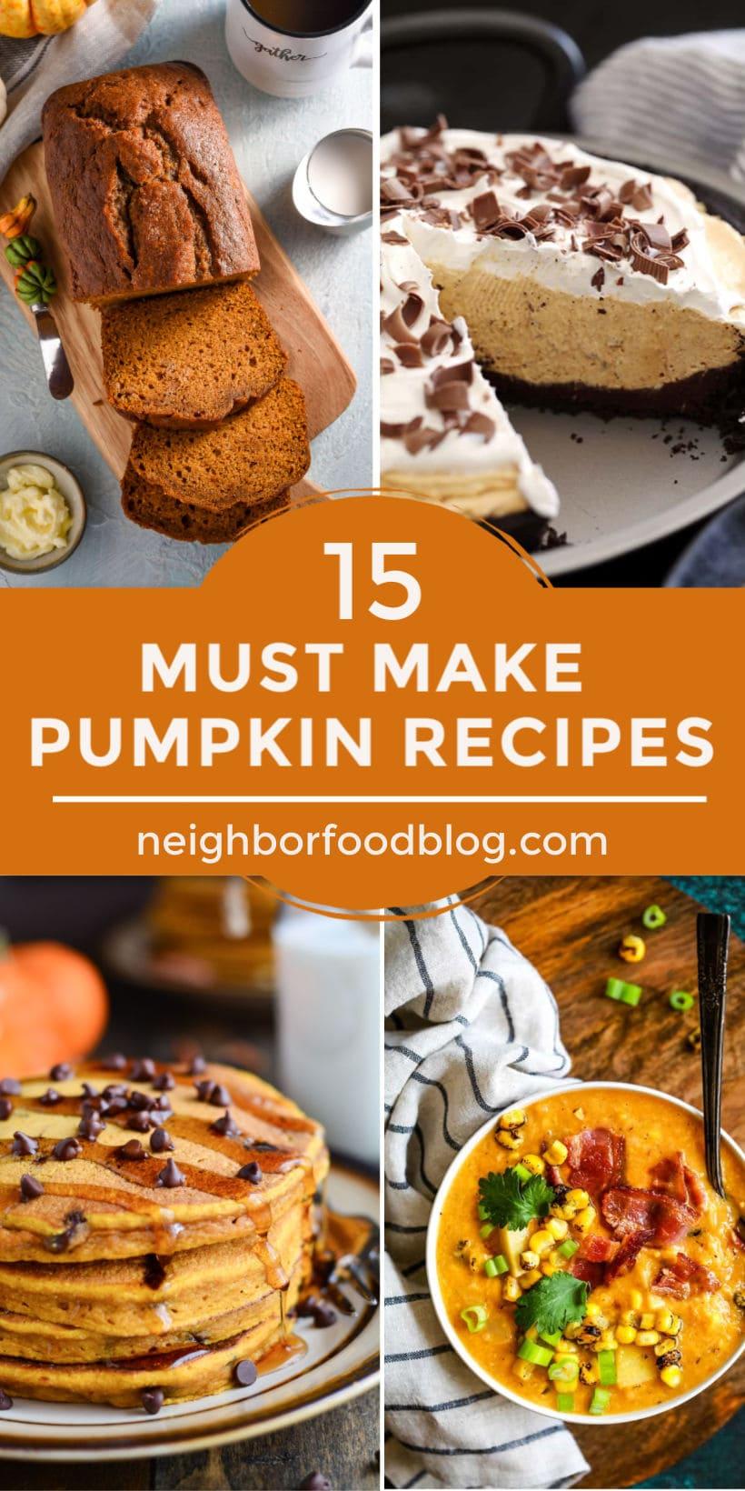 collage of canned pumpkin recipes including a stack of pumpkin pancakes, pumpkin chowder, pumpkin bread, and pumpkin cheesecake