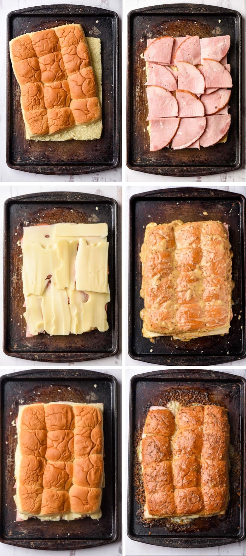 Series of photos showing how to make ham and cheese sliders