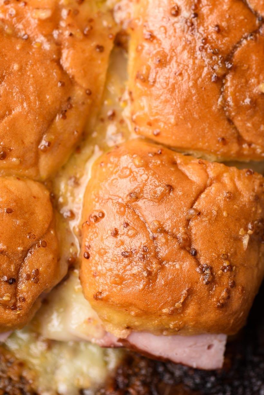 Toasted Hawaiian Ham Sliders with a honey mustard glaze