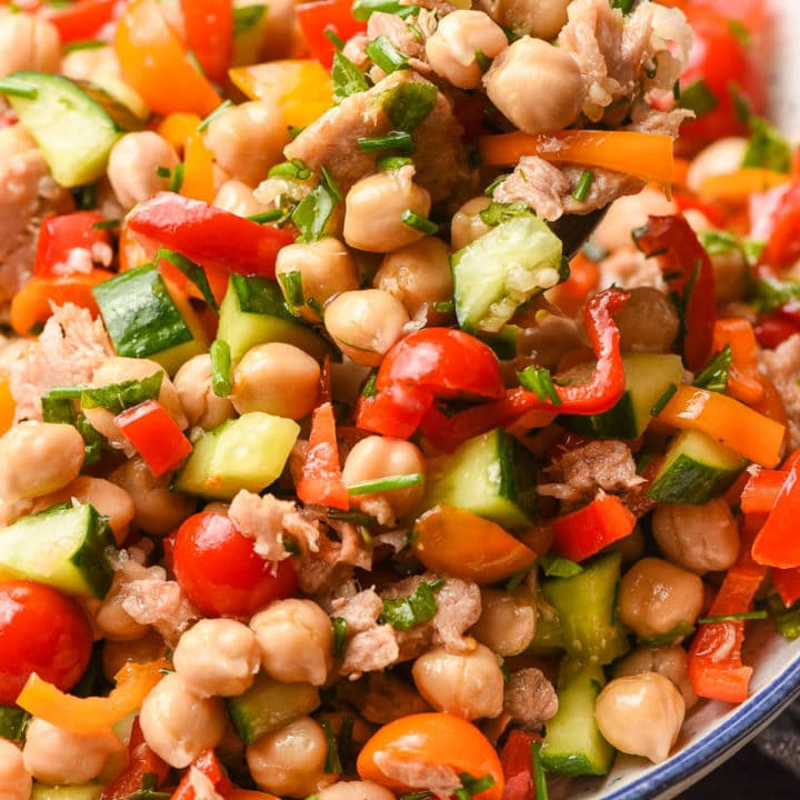 Spoonful of Chickpea and Tuna Salad with vegetables